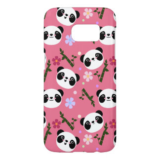 Kawaii Panda on Pink Samsung Galaxy S7 Case