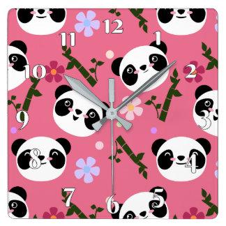 Kawaii Panda on Pink Square Wall Clock