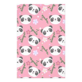 Kawaii Panda on Pink Stationery