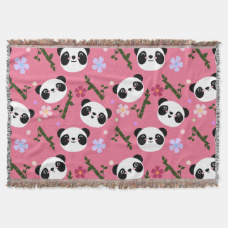 Kawaii Panda on Pink Throw Blanket