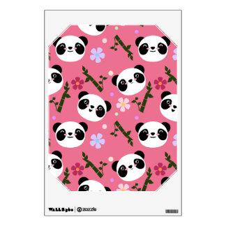 Kawaii Panda on Pink Wall Sticker