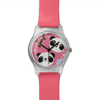 Kawaii Panda on Pink Watch