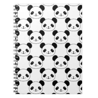 Kawaii Panda Pattern In Black And White Notebook