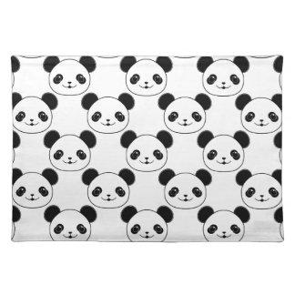 Kawaii Panda Pattern In Black And White Placemat