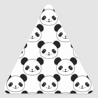 Kawaii Panda Pattern In Black And White Triangle Sticker