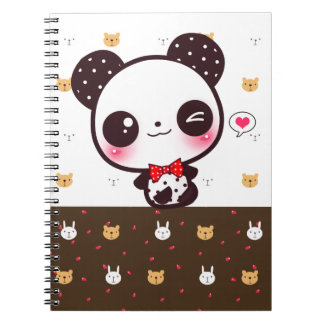 Kawaii panda spiral notebook