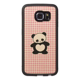 Kawaii panda wood phone case