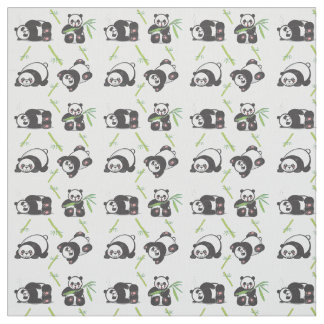 Kawaii Pandas Pima Cotton Fabric