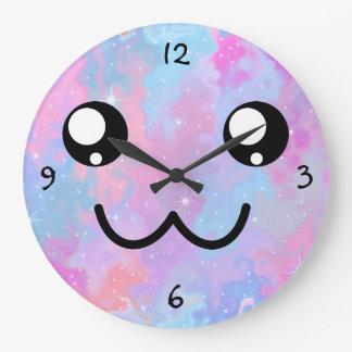 Kawaii Pastel Colorfull Space Background Large Clock