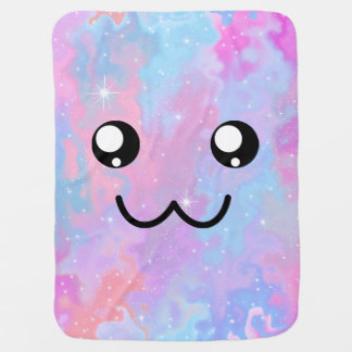 Kawaii Pastel Cute Face Space Background Baby Blanket