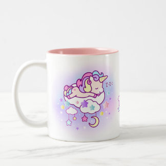 Kawaii pastel unicorn with cute clouds stars moon Two-Tone coffee mug
