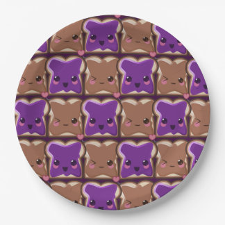 Kawaii Peanut Butter and Jelly Friends Paper Plate