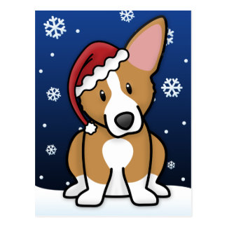 Kawaii Pembroke Welsh Corgi Christmas Postcard
