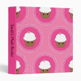 Kawaii Personalized Pink Cupcake School Binder