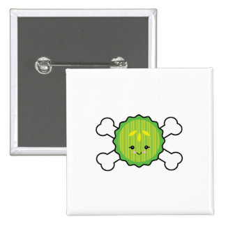 kawaii pickle slice and crossbones design 2 inch square button