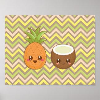 Kawaii Pineapple Coconut Poster
