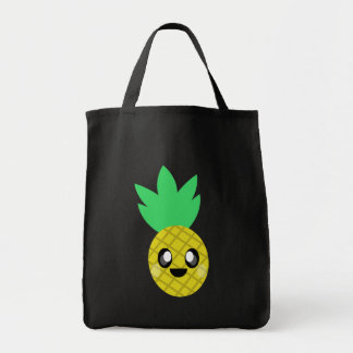 kawaii pineapple happy face tote bag