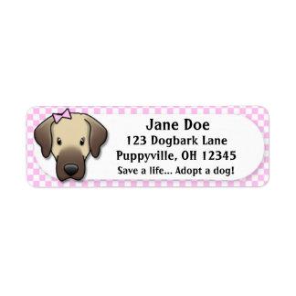 Kawaii Pink Gingham Anatolian Shepherd Dog Return Address Label