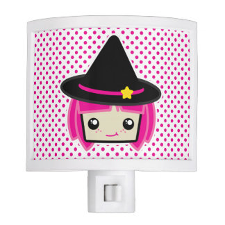 Kawaii Pink Haired Witch Night Light