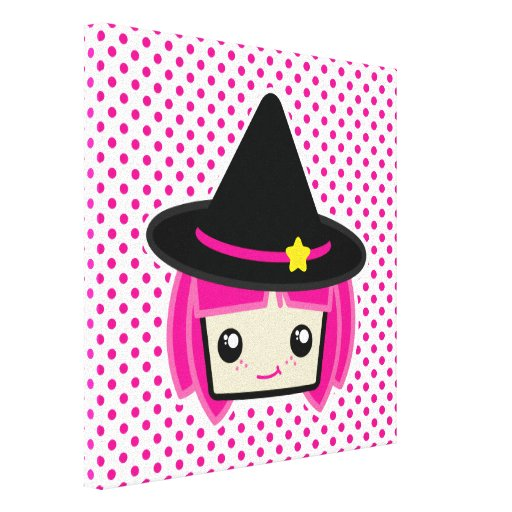 Kawaii Pink Haired Witch Wrapped Canvas Canvas Print