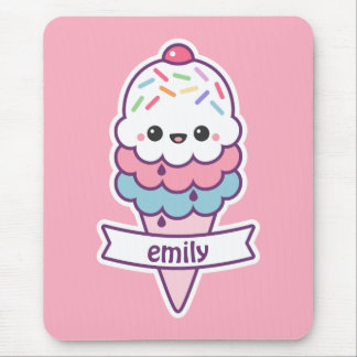 Kawaii Pink Ice Cream Cone Mouse Pad