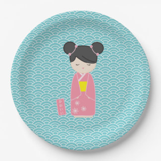 Kawaii Pink Kokeshi 9 Inch Paper Plate