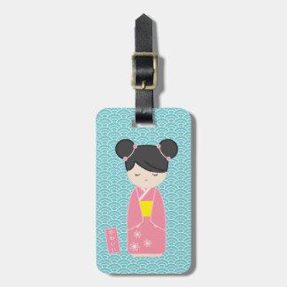 Kawaii Pink Kokeshi Bag Tag