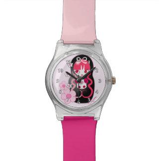 Kawaii Pink Panda Bear Matryoshka Wrist Watches