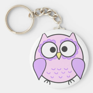 Kawaii Pink & Purple Owl Keyring