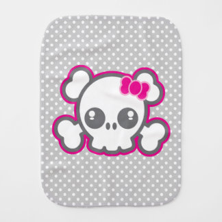 Kawaii Pink Ribbon Skull Baby Burp Cloth