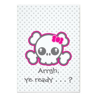 Kawaii Pink Ribbon Skull Halloween Party Invite