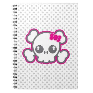 Kawaii Pink Ribbon Skull Notebook