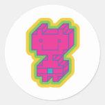 Kawaii Pink Robot Round Sticker