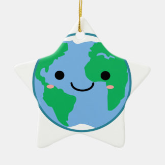 Kawaii Planet Earth Ceramic Star Ornament