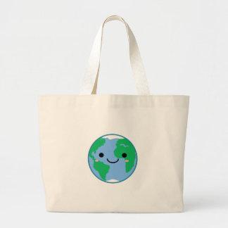 Kawaii Planet Earth Large Tote Bag