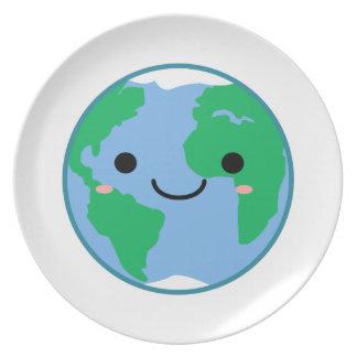 Kawaii Planet Earth Plate