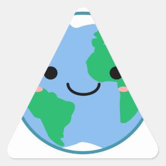Kawaii Planet Earth Triangle Sticker