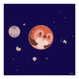 Kawaii Pluto Penguin Planet and Moons Perfect Poster