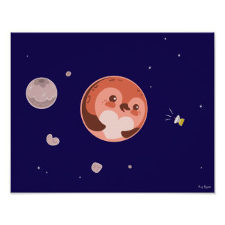 Kawaii Pluto Penguin Planet and Moons Poster