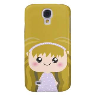 Kawaii Polka dot lilac dress Squeable cartoon Girl Samsung Galaxy S4 Cases