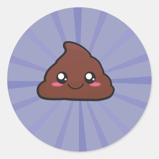 kawaii poop round sticker
