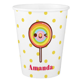 Kawaii pretty rainbows lollipop birthday paper cup