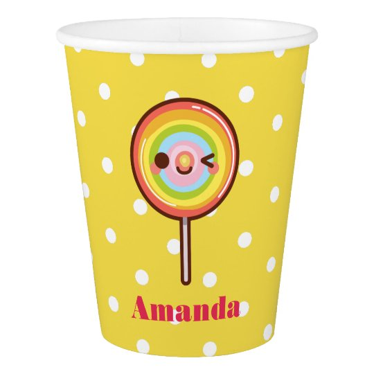 Kawaii pretty rainbows lollipop birthday yellow paper cup