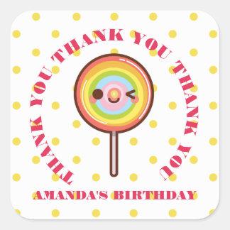Kawaii pretty rainbows lollipop THANK YOU FAVOR Square Sticker