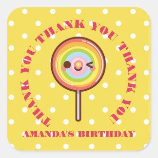 Kawaii pretty rainbows lollipop THANK YOU FAVOR Y Square Sticker