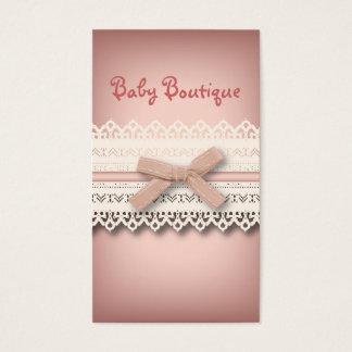 Kawaii princess girly chic white lace pink bow business card