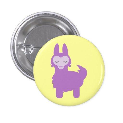 Kawaii Purple Llama Pinback Buttons