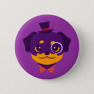 Kawaii Purple Rottweiler Puppy 2 Inch Round Button