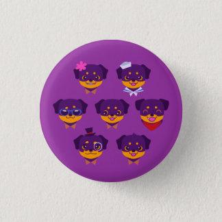 Kawaii Purple Rottweiler Puppy Pattern 1 Inch Round Button