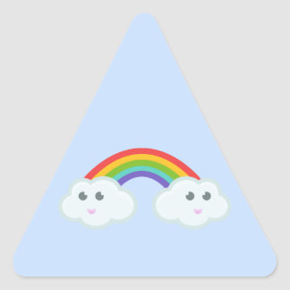 Kawaii rainbow cloud triangle sticker